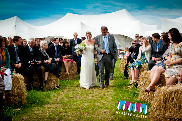 A relaxed vintage wedding marquee in the garden for wedding